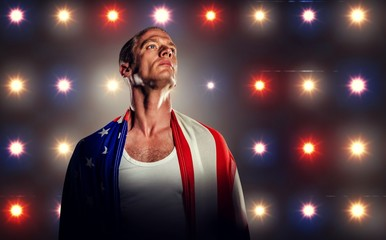Composite image of athlete with american flag