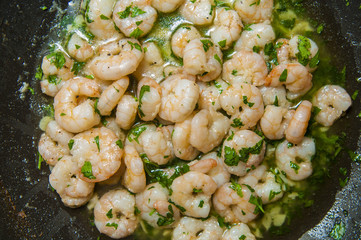 "Spanish food: garlic prawns ""gambas al ajillo""."