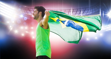 Composite image of profile view of brazilian sportsman