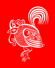 original red line art rooster calligraphy drawing, symbol of 201