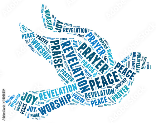 Peace dove religion christian faith silhouette text wordart