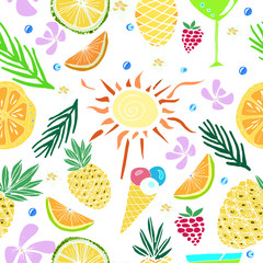 Hand drawn colorful vector seamless pattern. Summertime.Travel. Holiday. Vacation.