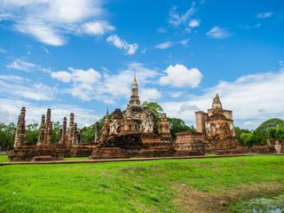 Mahathat Temple, an ancient temple in Sukhothai Historical Park, Sukhothai, Thailand.