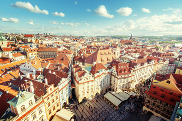 view from town hall tower, old town square, Prague Wall mural