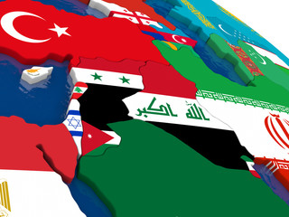 Israel, Lebanon, Jordan, Syria and Iraq region on 3D map with fl