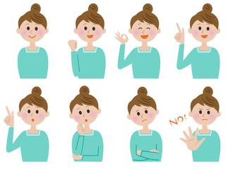 若い女性 表情 アイコン セット