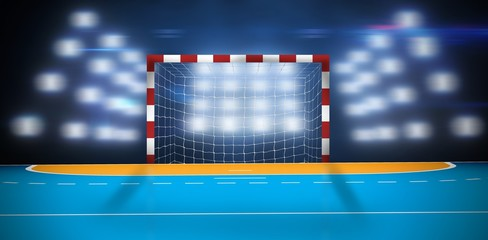 Composite image of handball goal