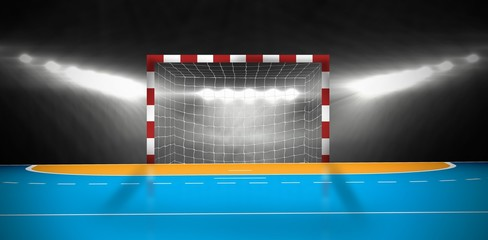 Composite image of a handball goal