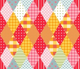 Vector seamless pattern with rhombus. Vector illustration of quilt. Geometric background.