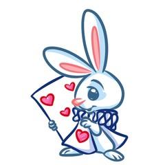 White Rabbit Alice Wonderland map worms cartoon illustration isolated image animal character