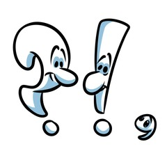 Punctuation marks cartoon illustration isolated image question mark