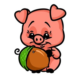 Little pig acorn cartoon illustration isolated image animal character