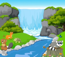 funny animal with waterfall landscape background