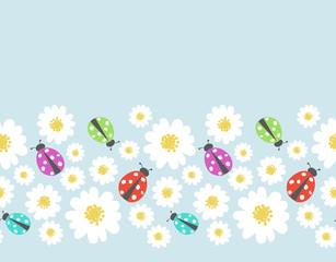 Seamless pattern border with flower,  ladybug
