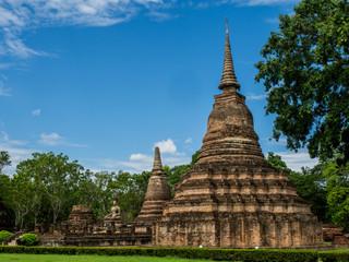An ancietn pagoda at Mahathat Temple, an ancient temple in Sukhothai Historical Park, Sukhothai, Thailand.