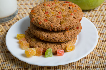 Oatmeal cookies on white plate