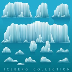 Set of icebergs and sea. Vector illustration. Arctic or antarctic landscape.