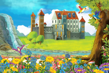 Cartoon scene on a castle - stage for different usage - for fairy tales - book or game - illustration for children