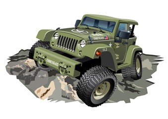 Vector Cartoon Military 4x4 Car. Available EPS-10 separated by groups and layers for easy edit