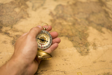 old map and compass , retro style