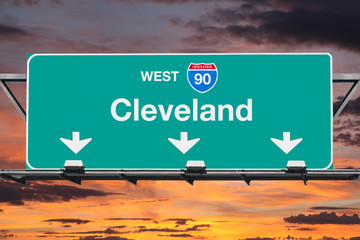 Cleveland Interstate 90 West Highway Sign with Sunrise Sky