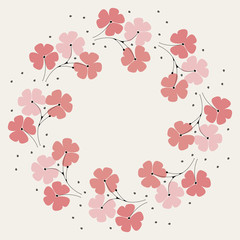 Cute round frame with pink and red flowers