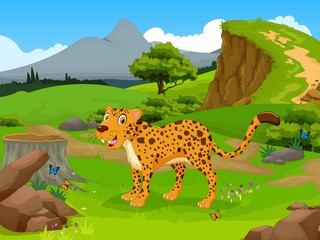 funny Cheetah cartoon in the jungle with landscape background