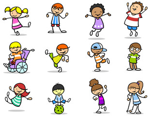 Viele verschiedene Kinder haben Spaß