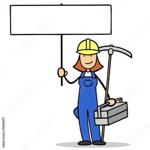 Frau Als Bauarbeiter Mit Schild Stockfotos Und Lizenzfreie Bilder