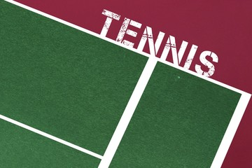 Tennis message written in white