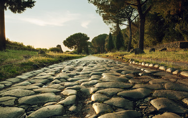 Antique road in Rome Wall mural