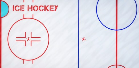 Composite image of ice hockey message on a white background