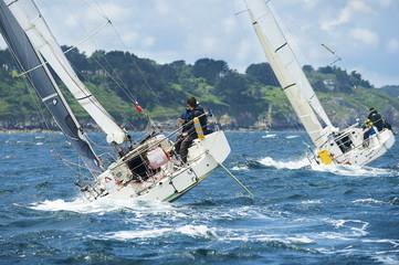 Printed kitchen splashbacks Sailing group yacht at race