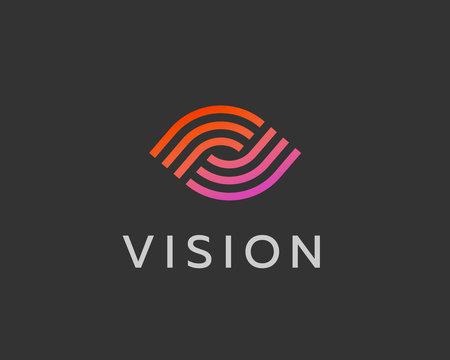 Eye logo symbol design. Creative camera media icon. Global vision logotype. Photo video control sign.