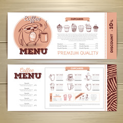 Vintage coffee menu design.