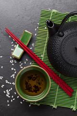 Asian tea bowl and teapot