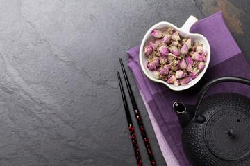 Asian rose tea and teapot