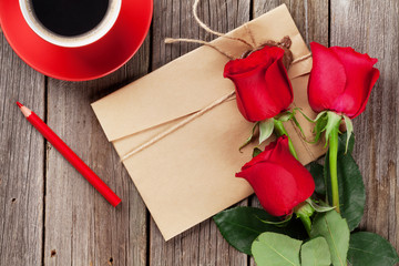 Love letter and red roses