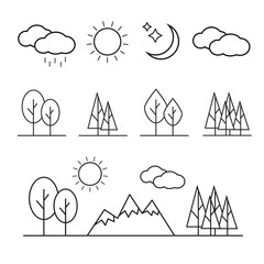 Nature landscape thin line elements icons