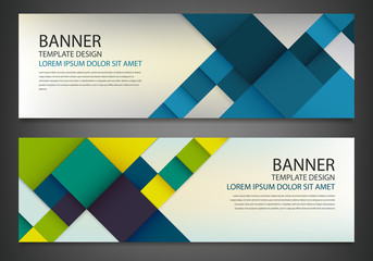 Two banners with colorful squares. Business design template. Horizontal banners vector set.