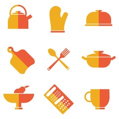 set of kitchen utensils icons