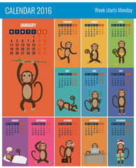 Calendar for 2016 with chinese zodiac Monkey. Funny monkey cartoon character. Vector