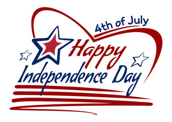 Happy Independence Day drawing lettering design. 4th of July. Vector lettering card