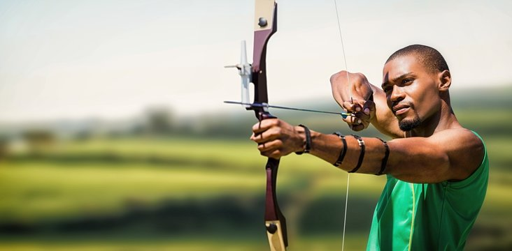 Composite image of close up view of man practicing archery