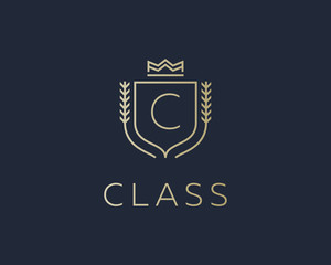 Premium monogram letter C initials ornate signature logotype. Elegant crest logo icon vector design. Luxury shield crown sign.
