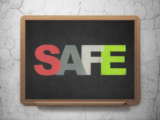 Protection concept: Safe on School board background