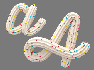 White cream candy font