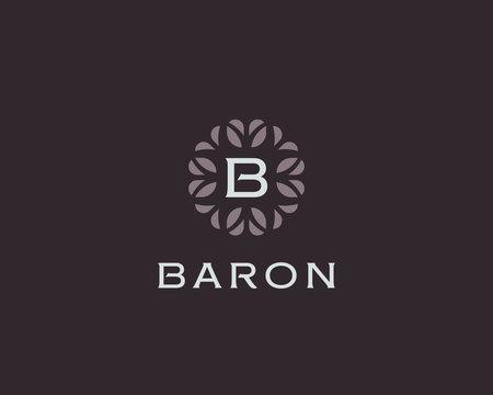 Premium monogram letter B initials logo. Universal symbol icon vector design. Luxury abc leaf logotype.