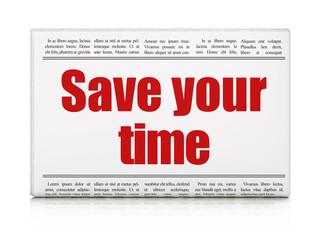 Timeline concept: newspaper headline Save Your Time