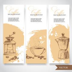 Set of coffee banners. Vintage hand drawn design elements. Vintage coffee machine, cup of coffee and geyser coffee pot.